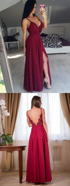 acdba34db89c Burgundy Chiffon Prom Dress A Line Cheap Sexy Prom Dress # VB4574