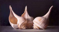 Tatyanna Klevenskiy Artwork - Sea Shell Trio 20 x 36 Hyperrealism, Fine Art Gallery, Custom Framing, Contemporary Artists, Painting & Drawing, Still Life, Sea Shells, Abstract, Drawings