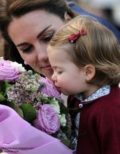 Catherine Duchess of Cambridge and Princess Charlotte at Victoria harbour. British Columbia. October 1 2016