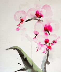 """Karin Johannesson  Contemporary Watercolour orchid study 15"""" x 11"""""""
