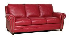"New Luke Leather Furniture ""Weston"" Cherry Red 1 Sofa,2 Chairs,2 Ottomans"