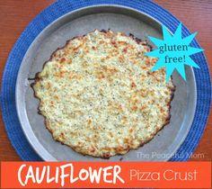 A little bit of effort but it tastes really good! Gluten Free Cauliflower Pizza Crust - The Peaceful Mom Gf Recipes, Gluten Free Recipes, Healthy Recipes, Healthy Food, Cauliflower Crust Pizza, Raw Cauliflower, Gluten Free Pizza, Crust Recipe
