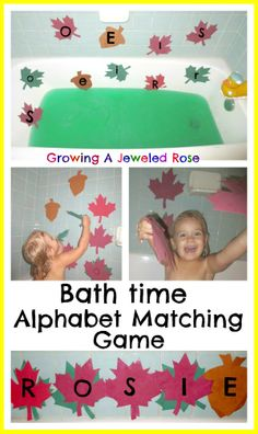 Wash & Learn Bath Time Fun.  This alphabet matching game cost one dollar to make and is such a fun way for children to learn and practice the alphabet!