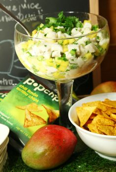 ceviche with chili limon tortilla #popchips. #football #tailgating #party #recipe #aaronsanchez
