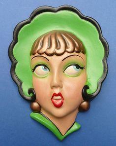 Vintage Pretty Flapper Girl Plaster Head Wall Plaque 1930s