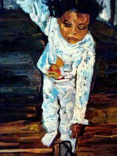 "Impressionism by Impressionist Tucker-Demps. Original oil on paper,  15x20. ""Mama's big girl """
