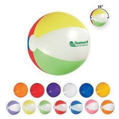 "16"" Beach Ball Item # CTRMC-GVWDJ Round, Inflatable, Beach, 6 Panel, 2 Tone, Panel, Pool, Summer, Beach, Game, Game Day, Sports, Giveaway, School, College, Outdoor, Event, 6"". 16"" Diameter"