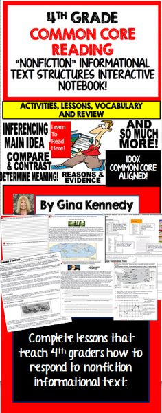 4TH GRADE READING INFORMATIONAL TEXT STRUCTURE FEATURES INTERACTIVE NOTEBOOK! COMMON CORE MUST HAVE!  Excellent introduction or review of all of the 4th Grade Informational Nonfiction Reading Text Structure Features! Activities, lessons and more. Text features included are main idea, compare & contrast, cause & effect, problem & solution, determine meaning, inference, reasons and evidence, context clues and many more.   4th graders find informational nonfiction reading text features..$