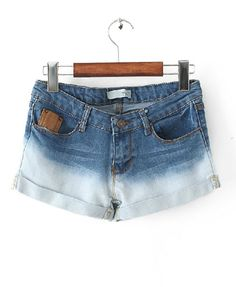 Gradient Washed Denim Shorts with High Waist from chicnova