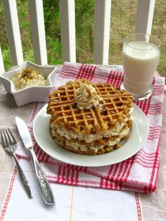 Waffles made from Carot Cake Batter!  (I'm going to try it with a mix.. and add nuts an raisins individually if our breakfast guests want it. It's THIS Sunday morning... hope it works! :)
