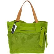 ce8ba54ae72f Roberta Gandolfi Italian Made Green Perforated Suede Tote Bag With Bow  Suede Tote Bag