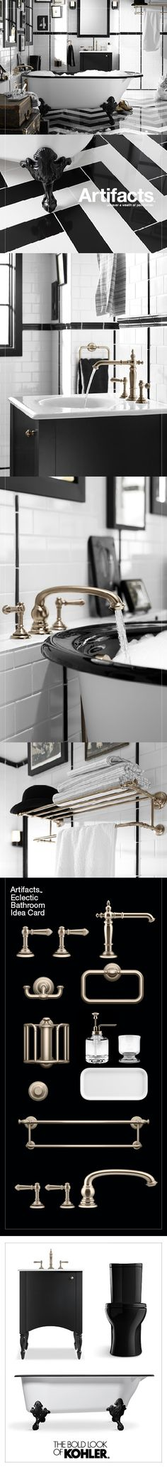 Create A Look All Your Own With The Kohler Artifacts Collection Black And White Bathroom