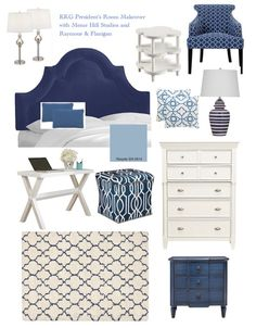 Do you love navy blue and white? Create the chicest bedroom with a navy blue vel… Do you love navy blue and white? Create the chicest bedroom with a navy blue velvet tufted headboard and bright patterned furniture and home accessories. Blue And Gold Bedroom, Navy Blue Bedrooms, Blue Master Bedroom, White Bedroom Decor, Bedroom Colors, Bedroom Ideas, Kids Bedroom, Velvet Tufted Headboard, Blue Headboard