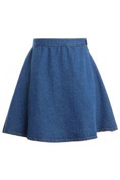 High Waist Dark Blue Denim Skirt #Romwe