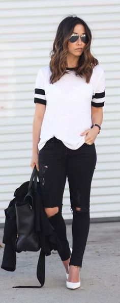 Black And White Outfit Idea Would do a color shoe bag or shade