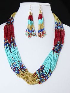 Cowgirl Bling Southwest Turquoise Red Multi str Indian style Bead necklace set our prices are WAY BELOW RETAIL! all JEWELRY SHIPS FREE! www.baharanchwesternwear.com baha ranch western wear ebay seller id soloedition