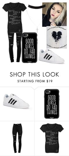 """Band t-shirt"" by scoutem ❤ liked on Polyvore featuring adidas, Casetify, Yves Saint Laurent and Charlotte Russe"