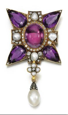 Amethyst, pearl and diamond pendant, 19th century. In the form of a Maltese cross set with pear-shaped amethyst to the cardinal points and cabochon foil backed rock crystal to the centre and pearls, suspending an associated pearl drop, accented with circular-cut and rose diamonds.