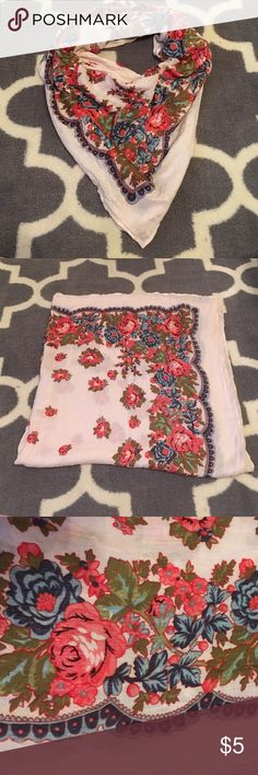 Square floral lightweight scarf Very soft and versatile creme square scarf with beautiful rose pattern. Can be worn multiple ways, is long enough to knot as a triangle scarf. Corner does have small holes from tag as shown in last photo. Forever 21 Accessories Scarves & Wraps