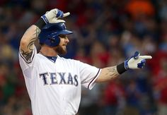 This moment was just so awesome. The crowd went wild after he got a double with his first swing back in Texas. His smile was so genuine, and you could see the gratitude. Here's to beating the odds! Texas Rangers Josh Hamilton (32) gestures to the dugout after hitting a double in the first inning against the Boston Red Sox at Globe Life Park Thursday, May 28, 2015.