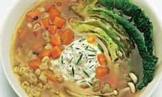 Cabbage and pot barley soup with whipped feta