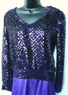 Get it at Bad Reputation Boutique! #Purple Sequined Open Knit Top w/Elastic Cuffs and Hem - Size 8 - #Sparkly, Fun #Unbranded #KnitTop #EveningOccasion #PurpleSequins #Sequins