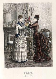 Category:Images from Nordiska museet/Fashion plates - Wikimedia Commons Victorian Costume, Victorian Steampunk, Victorian Era, 1880s Fashion, Edwardian Fashion, Vintage Fashion, French Fashion, Lily Elsie, Fashion Prints