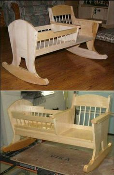 Learn how to build a rocking chair crib! - Why just have a rocking chair when y. - Learn how to build a rocking chair crib! – Why just have a rocking chair when you can also have a - Woodworking For Kids, Woodworking Basics, Woodworking Furniture, Woodworking Shop, Woodworking Crafts, Woodworking Plans, Woodworking Organization, Woodworking Machinery, Woodworking Classes
