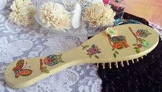 wooden hairbrush yellow decoupage hair by MagicalIIDecorations