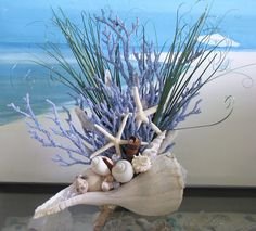Seashell Coral Centerpiece-Beach Grass-Starfish-Driftwood Coastal Table Decor coral branches for wedding decorations Seashell Crafts, Beach Crafts, Seashell Art, Coral Centerpieces, Centerpiece Ideas, Coastal Wedding Centerpieces, Beach Table Decorations, Wedding Decorations, Decor Wedding