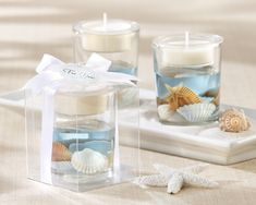 Ideal for a beach wedding or destination wedding reception, ocean seashell gel tea light candle holders make useful decorations and take home favors for your wedding guests. Candle Wedding Favors, Candle Favors, Beach Wedding Favors, Unique Wedding Favors, Tealight Candle Holders, Bridal Shower Favors, Party Favors, Seashell Wedding, Candle Cups