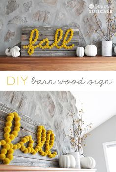 DIY Barn Wood Sign! So easy to make with reclaimed wood and pom poms!