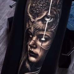 Woman & Owl Headdress - Tattoo - Tattoo Designs For Women Native Tattoos, Viking Tattoos, Wolf Tattoos, Animal Tattoos, Forearm Tattoos, Body Art Tattoos, Indian Tattoos, Owl Tattoo Design, Tattoo Sleeve Designs