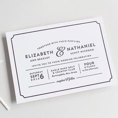Modern, playbill wedding invitation letterpress or digital | Sandra Picco Design, LLC #weddinginvitation