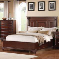 Ridgecrest Wood Low Profile Panel Bed in Cherry by Winners Only