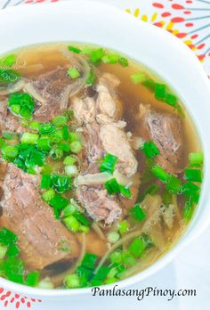 Slow Cooked Beef Lauya Soup Recipe - Panlasang Pinoy Slow cooked beef lauya soup is tender and delicious beef soup composed of beef chuck, ginger, scallions, fish sauce, and onion. Filipino Recipes, Asian Recipes, Filipino Food, Filipino Dishes, Lamb Recipes, Recipe Tasty, Slow Cooker Recipes, Crockpot Recipes, Soups