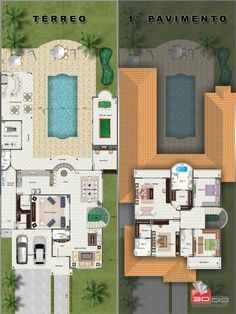 Plantas Humanizadas 3d House Plans, 2 Bedroom House Plans, House Blueprints, Dream House Plans, Home Design Plans, Plan Design, Compact House, Floor Plan Layout, Fantasy House