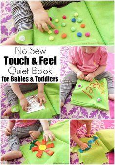 Sew A Gift a no sew touch and feel quiet book for babies and toddlers. There are no removable parts. Sensory exploration on felt! - a no sew touch and feel quiet book for babies and toddlers. There are no removable parts. Sensory exploration on felt! Diy Quiet Books, Baby Quiet Book, Felt Quiet Books, Quiet Book For Toddlers, Sensory Book, Baby Sensory, Diy Sensory Toys For Babies, Sensory Play, Touch And Feel Book