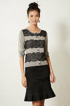 Lace Ruled Cardigan #anthropologie