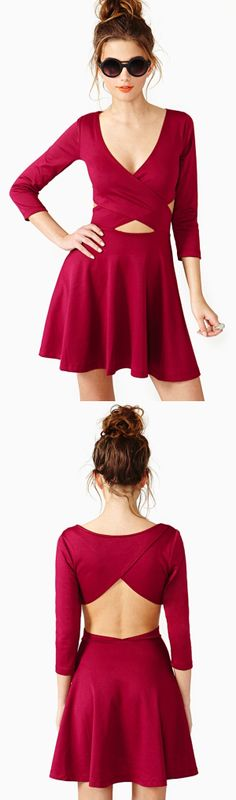 Crossed Out Skater Dress Wine