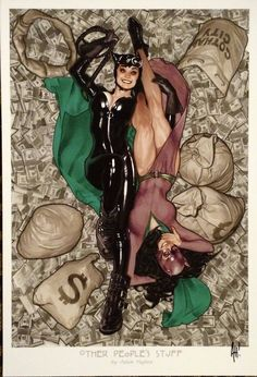 """Adam Hughes - Convergence #0, Catwoman, """"Other People's Stuff"""" #comicart"""