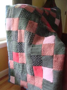 99percent Repurposed Wool Patchwork Blanket Handmade on Etsy, Sold