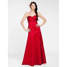 A-line Sweetheart Floor-length Satin Bridesmaid Dress