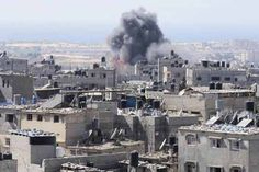 Local officials said the morning's raids hit targets that included mosques.  #Gaza #Palestinians