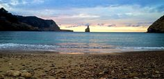 "Cap Bernat called ""Finger God"" a view from Cala Benirras beach in the north of Ibiza"