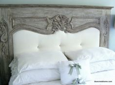 Prettiest headboard I've seen in a long time.  Made out of an old mantle.