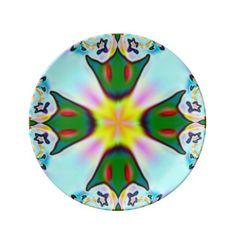 Blue Green Yellow Fractal Plate