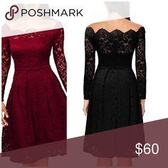 🆕Wine Lace cocktail dress Vintage lace skater dress US 12-14 L Dresses Midi