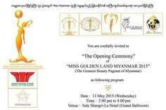 Miss Golden Land Myanmar 2015 Opening Ceremony on May 13' 2015