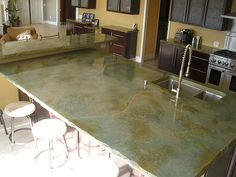 Concrete countertop ideas photos acid stained concrete acid stain mixed colors acid stained concrete s kits acid stained concrete home decor trends 2019 Acid Stained Concrete Floors, Acid Concrete, Concrete Countertops, Polished Concrete, Small Space Kitchen, Home Decor Trends, Decor Ideas, Decorating Small Spaces, Color Mixing
